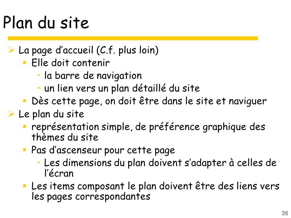 Plan du site La page d'accueil (C.f. plus loin) Elle doit contenir