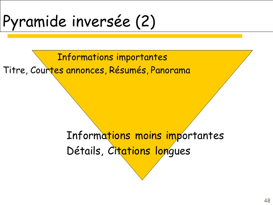 Pyramide inversée (2) Informations moins importantes