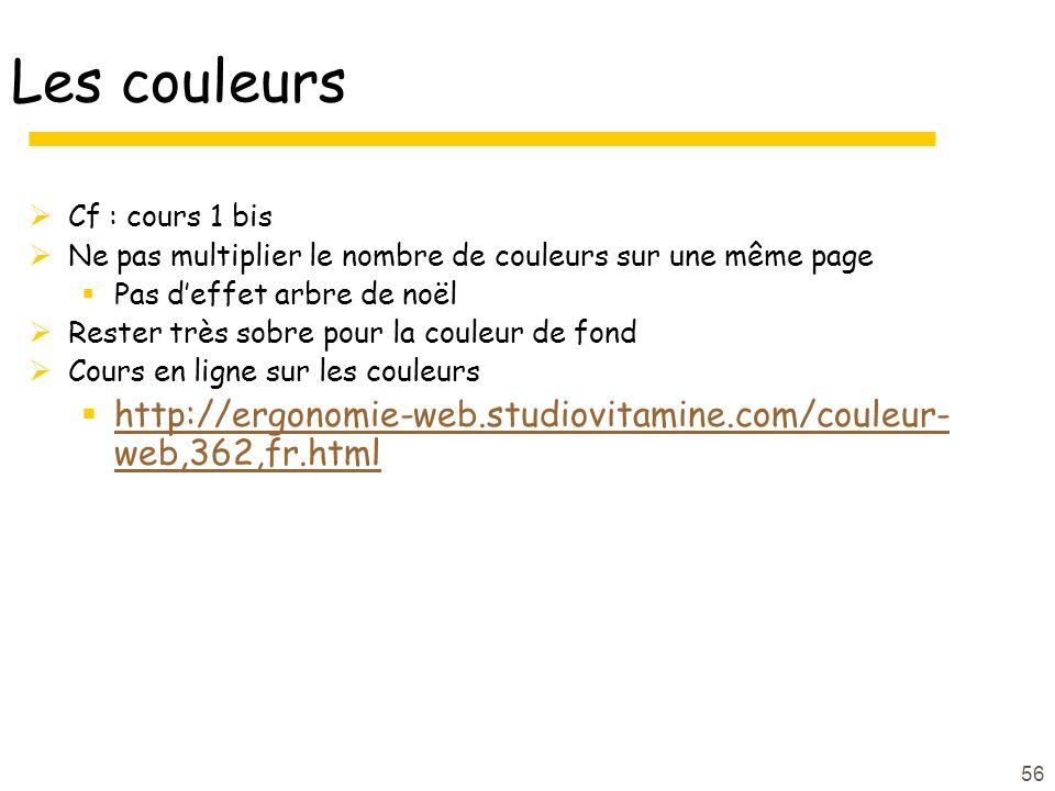 Les couleurs Cf : cours 1 bis. Ne pas multiplier le nombre de couleurs sur une même page. Pas d'effet arbre de noël.