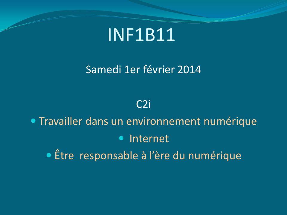INF1B11 Samedi 1er février 2014 C2i