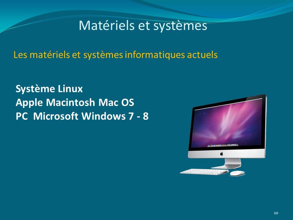 Matériels et systèmes Système Linux Apple Macintosh Mac OS