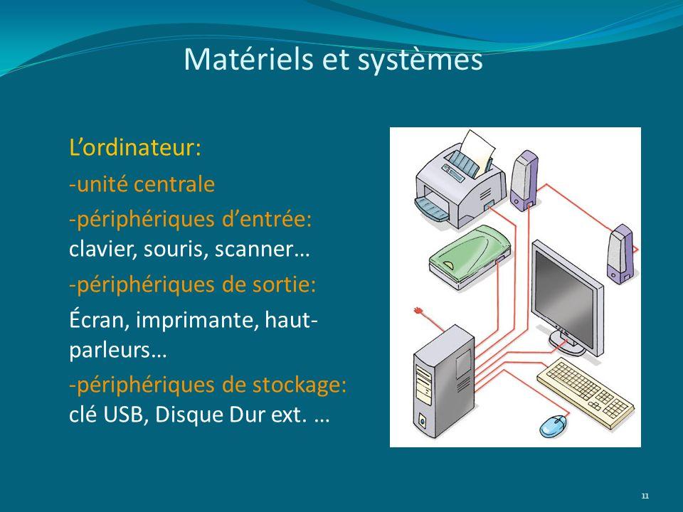 Matériels et systèmes L'ordinateur: -unité centrale