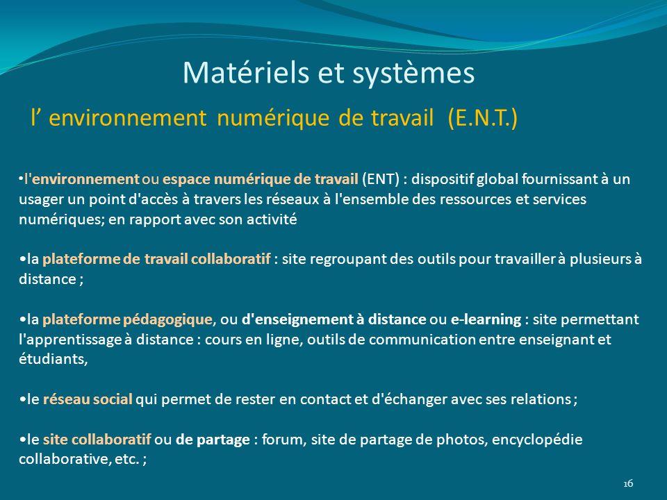 Matériels et systèmes l' environnement numérique de travail (E.N.T.)