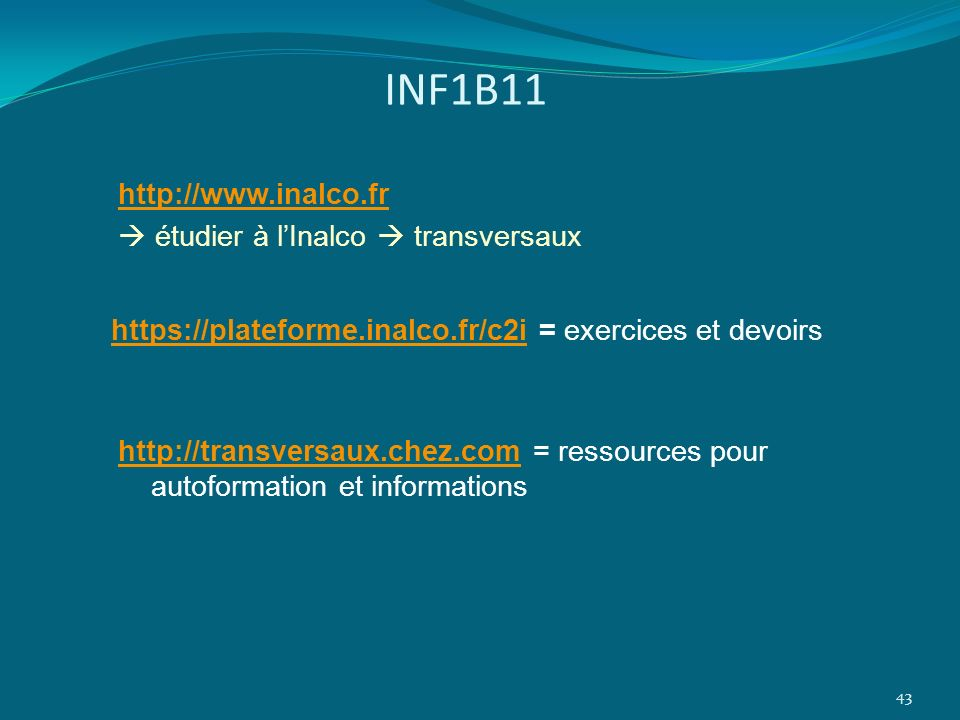 INF1B11 http://www.inalco.fr  étudier à l'Inalco  transversaux