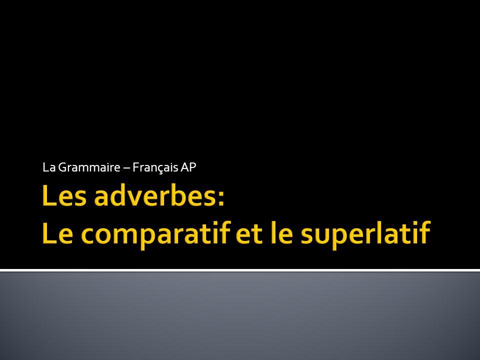 Les adverbes: Le comparatif et le superlatif