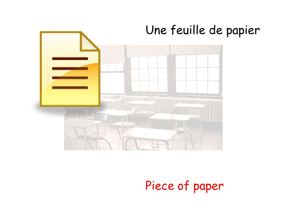 Une feuille de papier Piece of paper