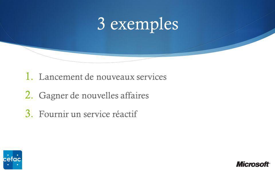 3 exemples Lancement de nouveaux services Gagner de nouvelles affaires