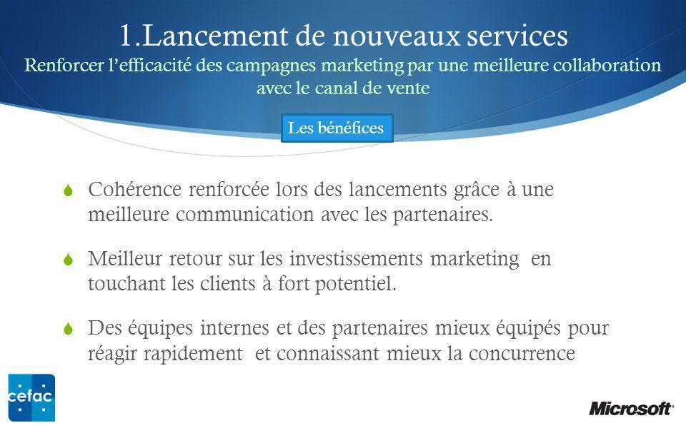 1.Lancement de nouveaux services Renforcer l'efficacité des campagnes marketing par une meilleure collaboration avec le canal de vente