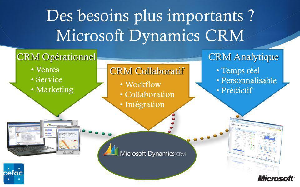 Des besoins plus importants Microsoft Dynamics CRM
