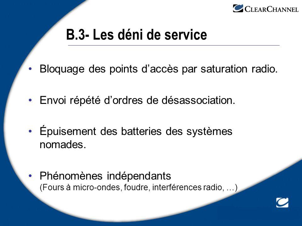 B.3- Les déni de service Bloquage des points d'accès par saturation radio. Envoi répété d'ordres de désassociation.