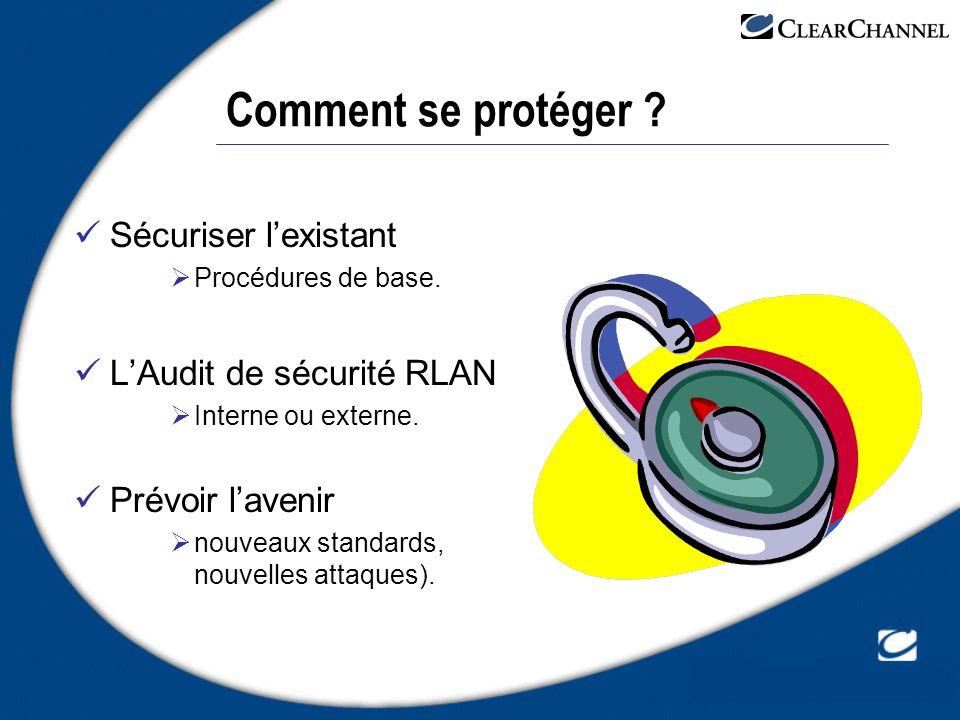 Comment se protéger Sécuriser l'existant L'Audit de sécurité RLAN