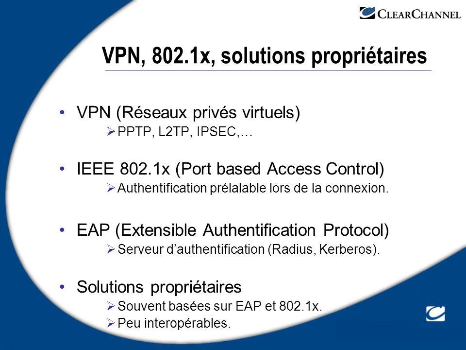 VPN, 802.1x, solutions propriétaires