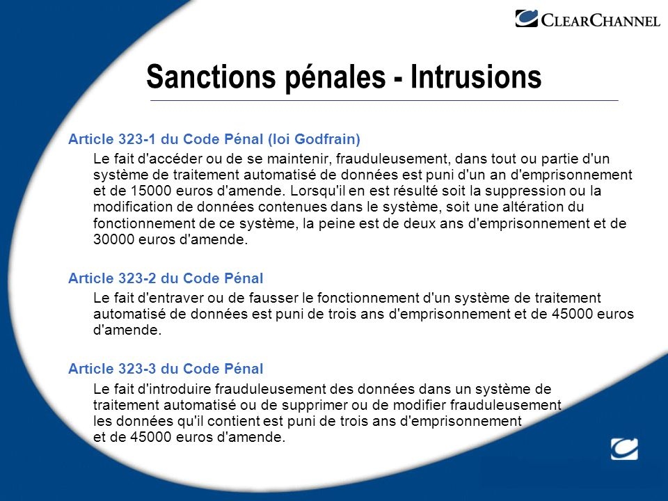 Sanctions pénales - Intrusions