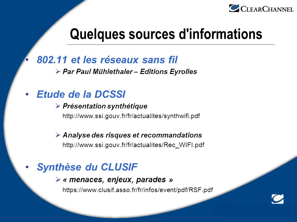 Quelques sources d informations
