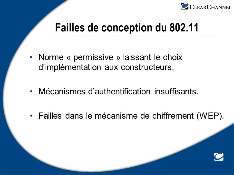 Failles de conception du 802.11