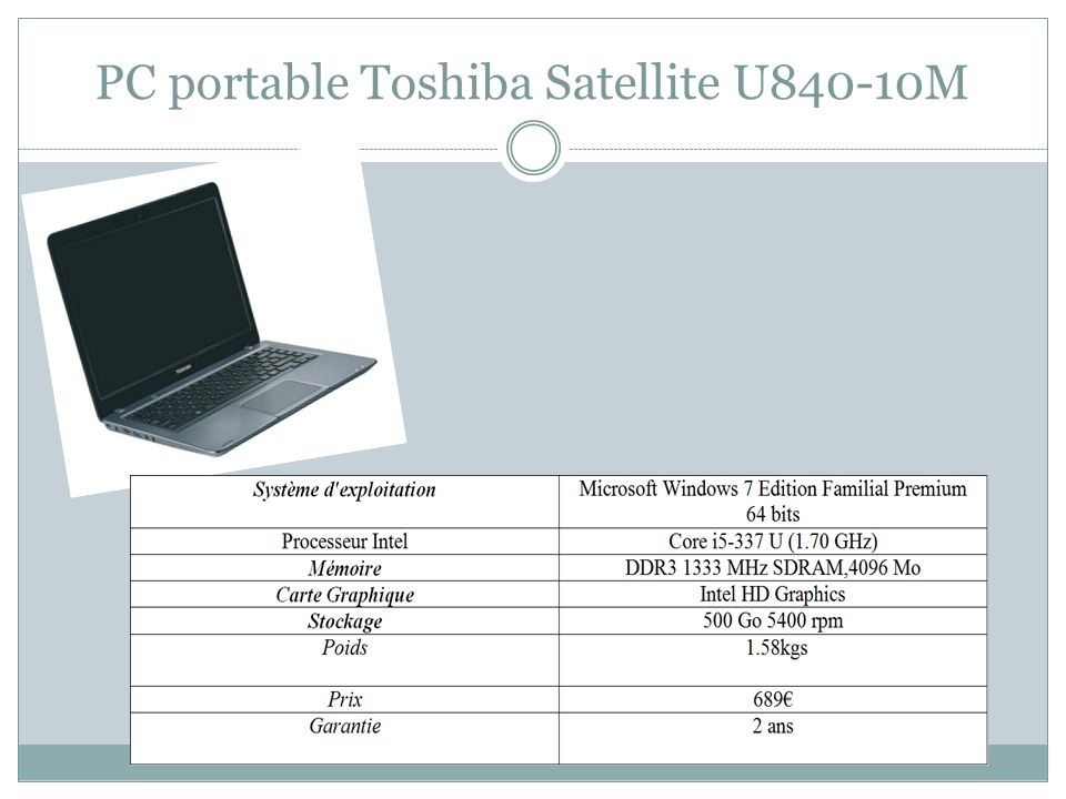 PC portable Toshiba Satellite U840-10M
