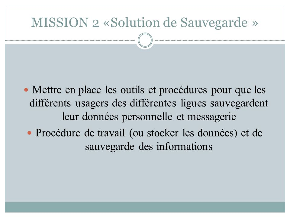 MISSION 2 «Solution de Sauvegarde »