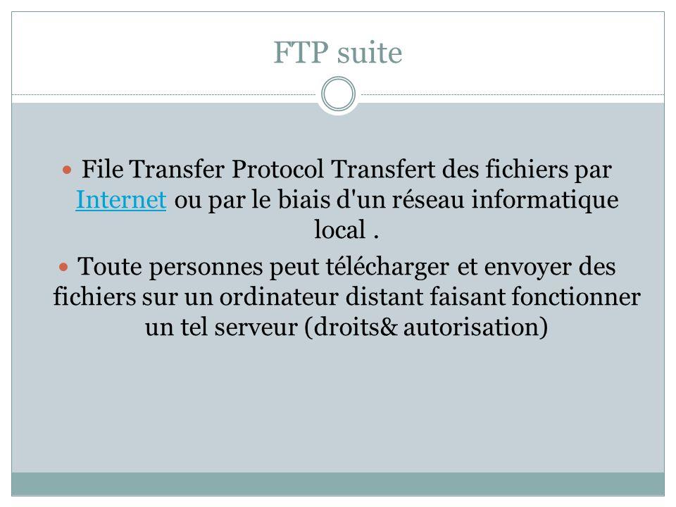 FTP suite File Transfer Protocol Transfert des fichiers par Internet ou par le biais d un réseau informatique local .