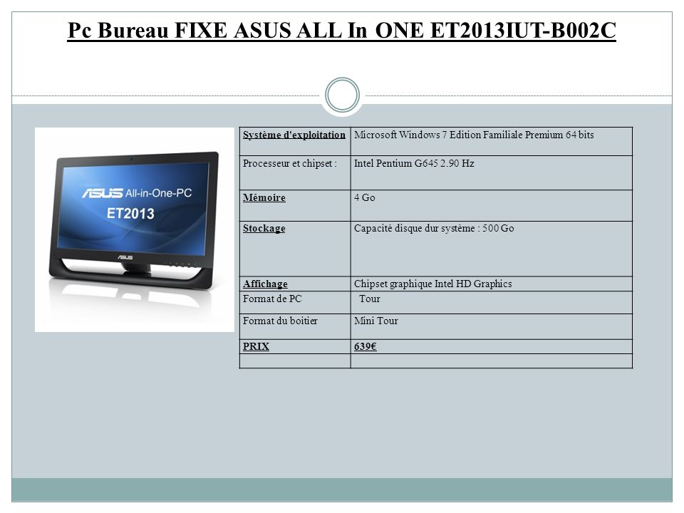 Pc Bureau FIXE ASUS ALL In ONE ET2013IUT-B002C