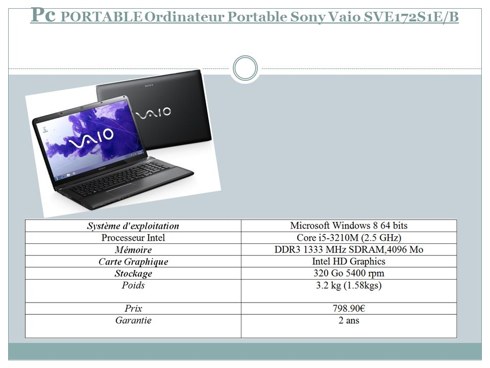 Pc PORTABLE Ordinateur Portable Sony Vaio SVE172S1E/B