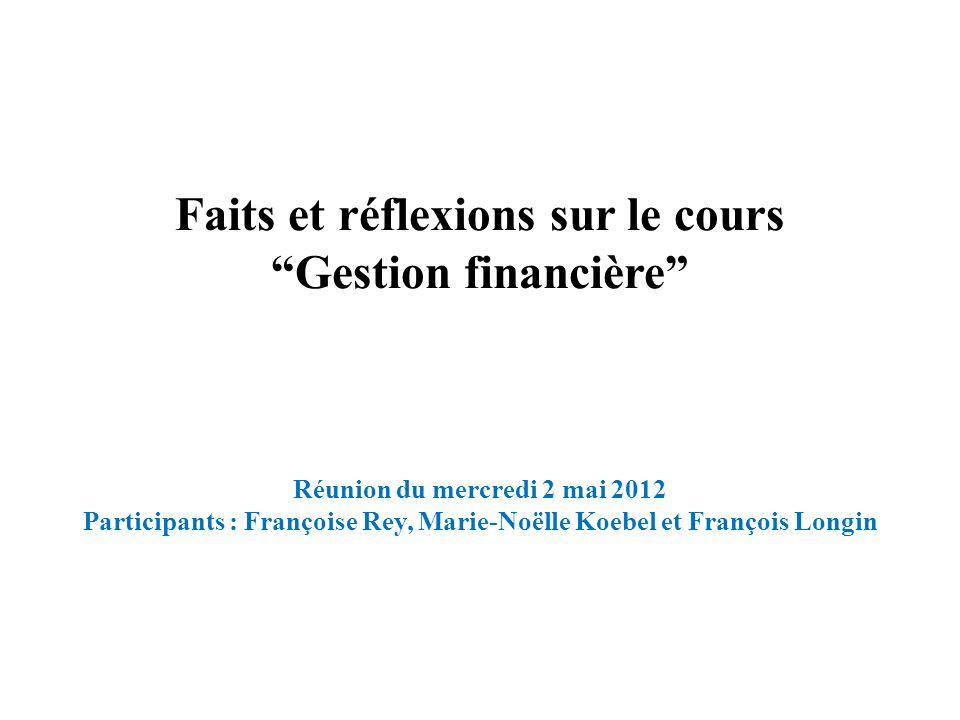 Faits et réflexions sur le cours Gestion financière