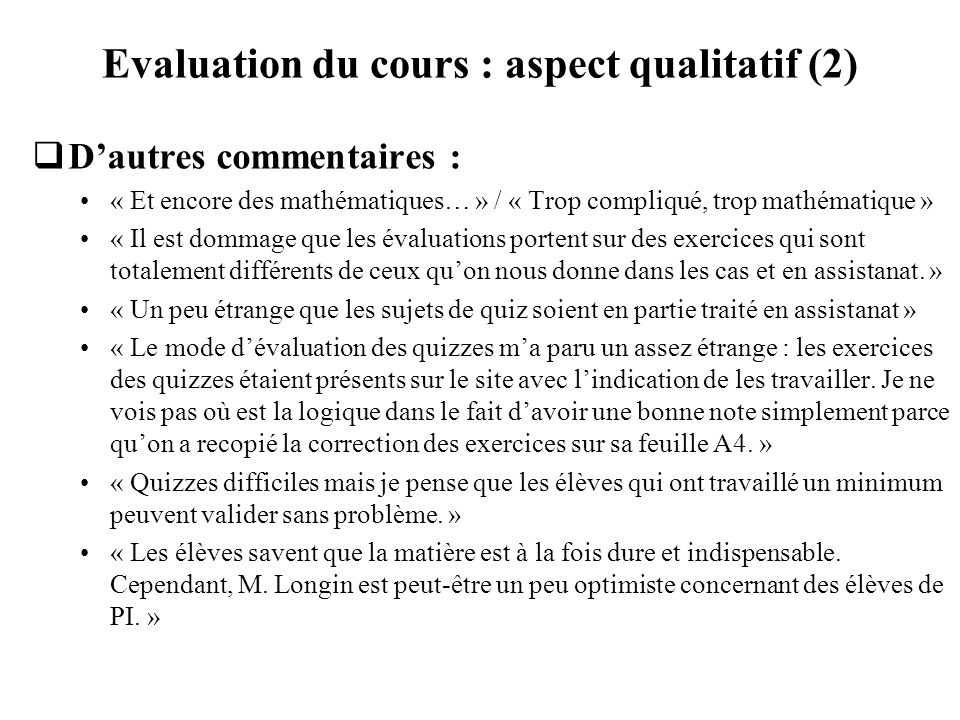 Evaluation du cours : aspect qualitatif (2)