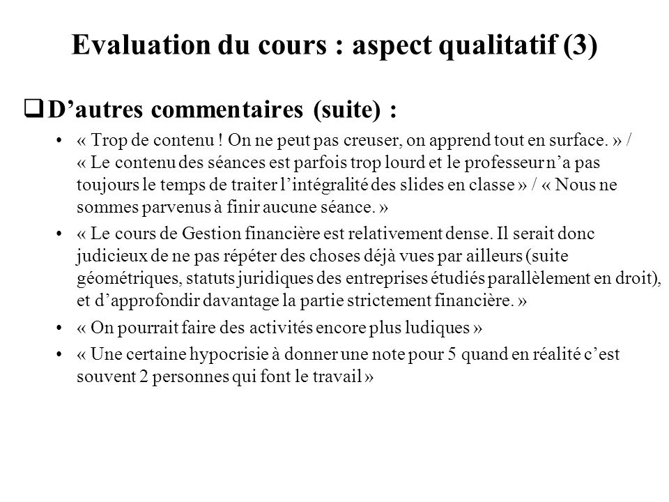 Evaluation du cours : aspect qualitatif (3)