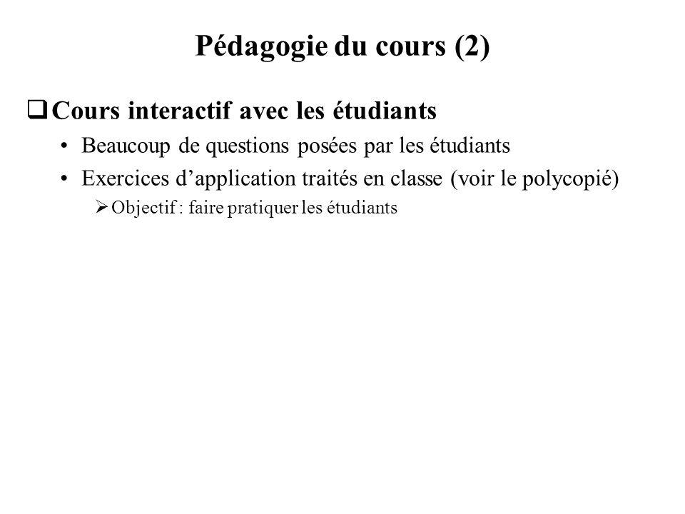 Pédagogie du cours (2) Cours interactif avec les étudiants