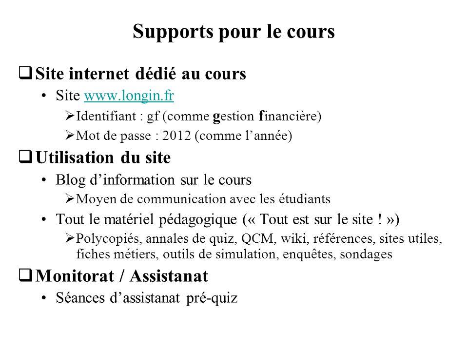Supports pour le cours Site internet dédié au cours