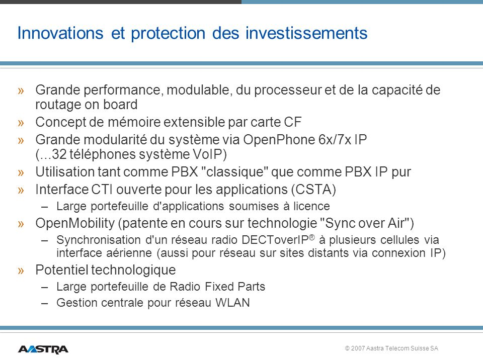 Innovations et protection des investissements