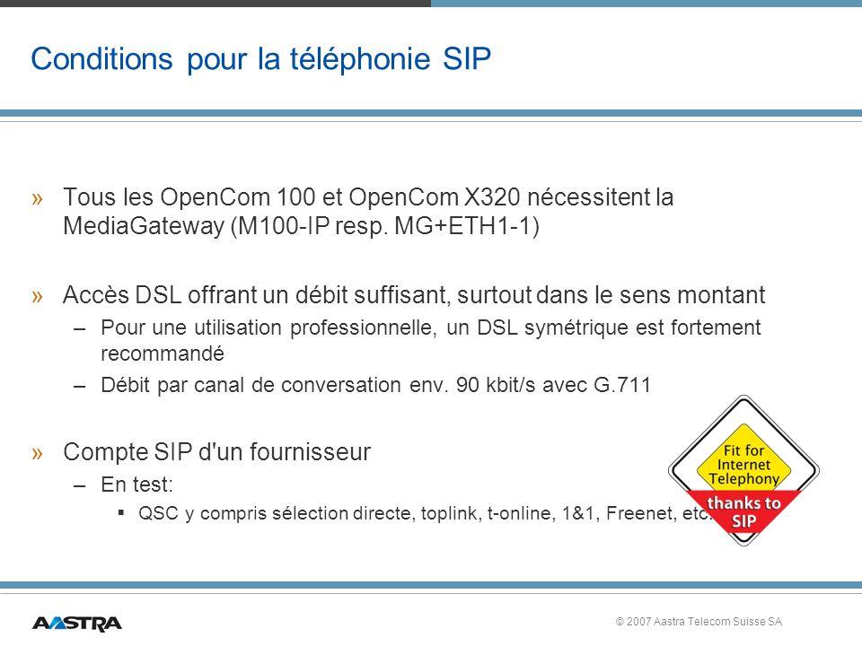 Conditions pour la téléphonie SIP