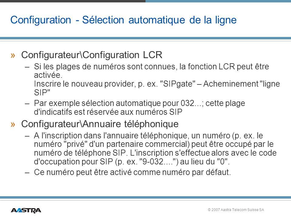 Configuration - Sélection automatique de la ligne