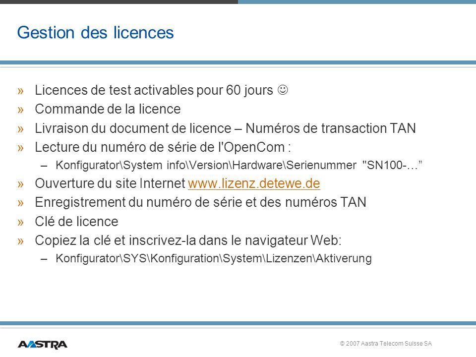 Gestion des licences Licences de test activables pour 60 jours 