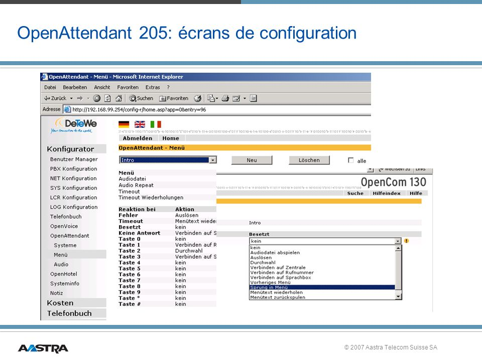 OpenAttendant 205: écrans de configuration