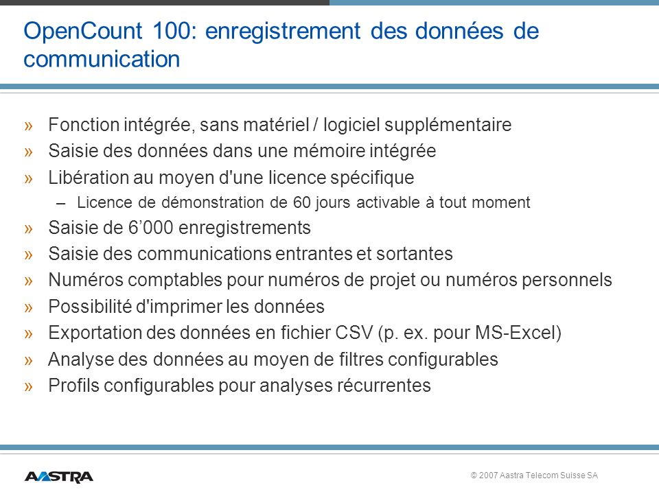 OpenCount 100: enregistrement des données de communication