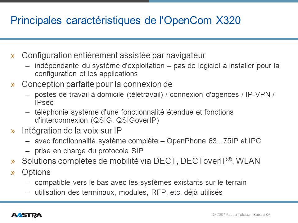 Principales caractéristiques de l OpenCom X320