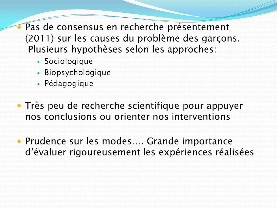 Pas de consensus en recherche présentement (2011) sur les causes du problème des garçons. Plusieurs hypothèses selon les approches: