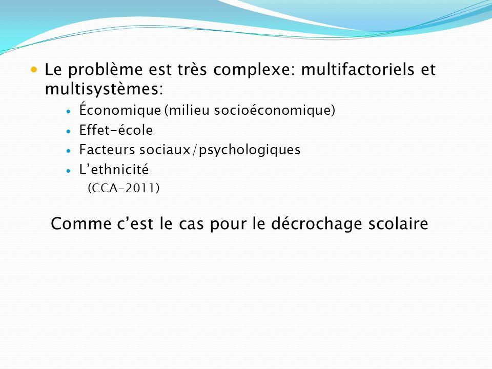 Le problème est très complexe: multifactoriels et multisystèmes: