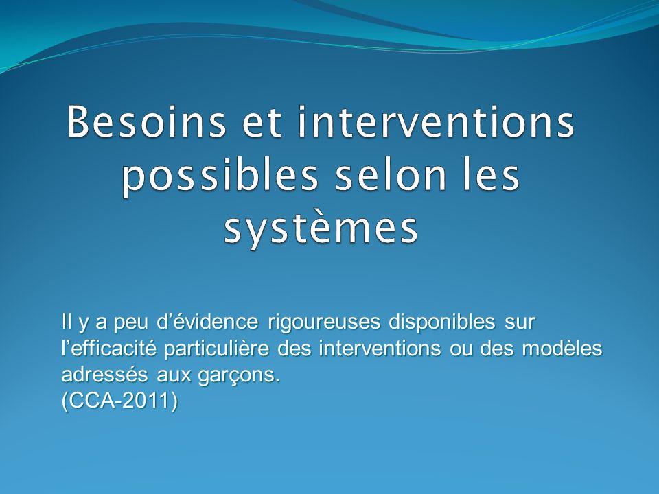 Besoins et interventions possibles selon les systèmes