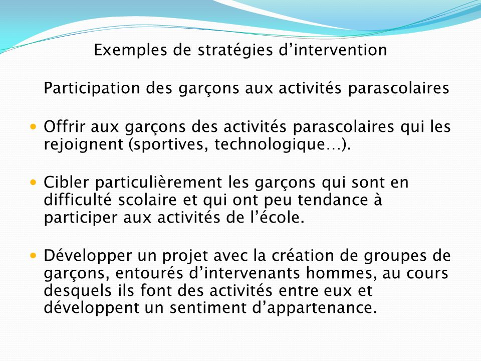 Exemples de stratégies d'intervention