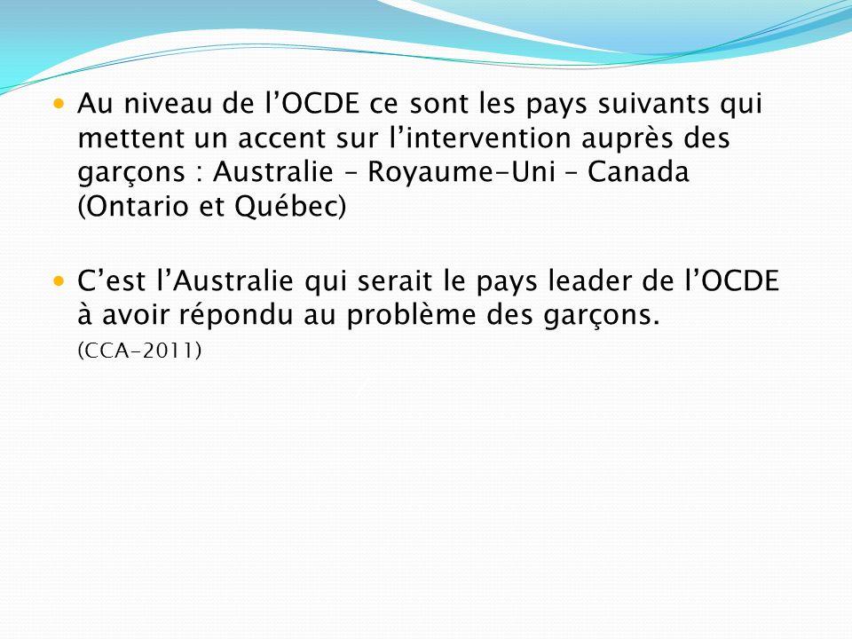 Au niveau de l'OCDE ce sont les pays suivants qui mettent un accent sur l'intervention auprès des garçons : Australie – Royaume-Uni – Canada (Ontario et Québec)