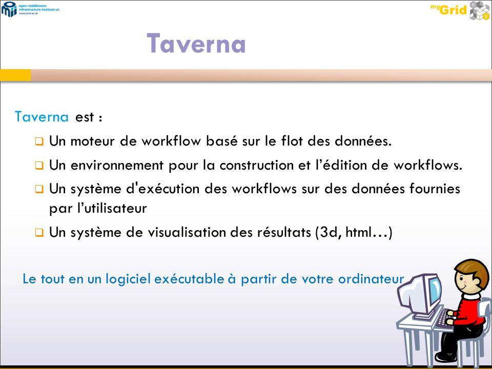 Taverna Taverna est : Un moteur de workflow basé sur le flot des données. Un environnement pour la construction et l'édition de workflows.