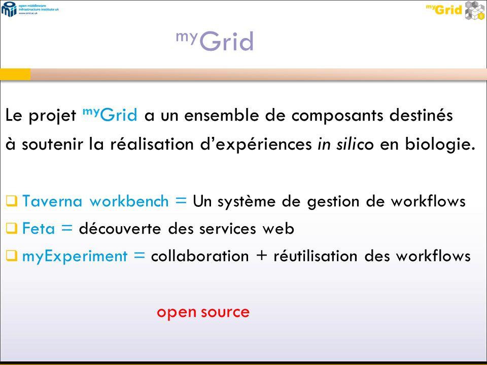 myGrid Le projet myGrid a un ensemble de composants destinés