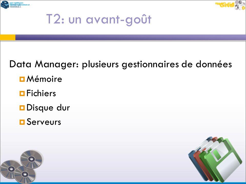 T2: un avant-goût Data Manager: plusieurs gestionnaires de données