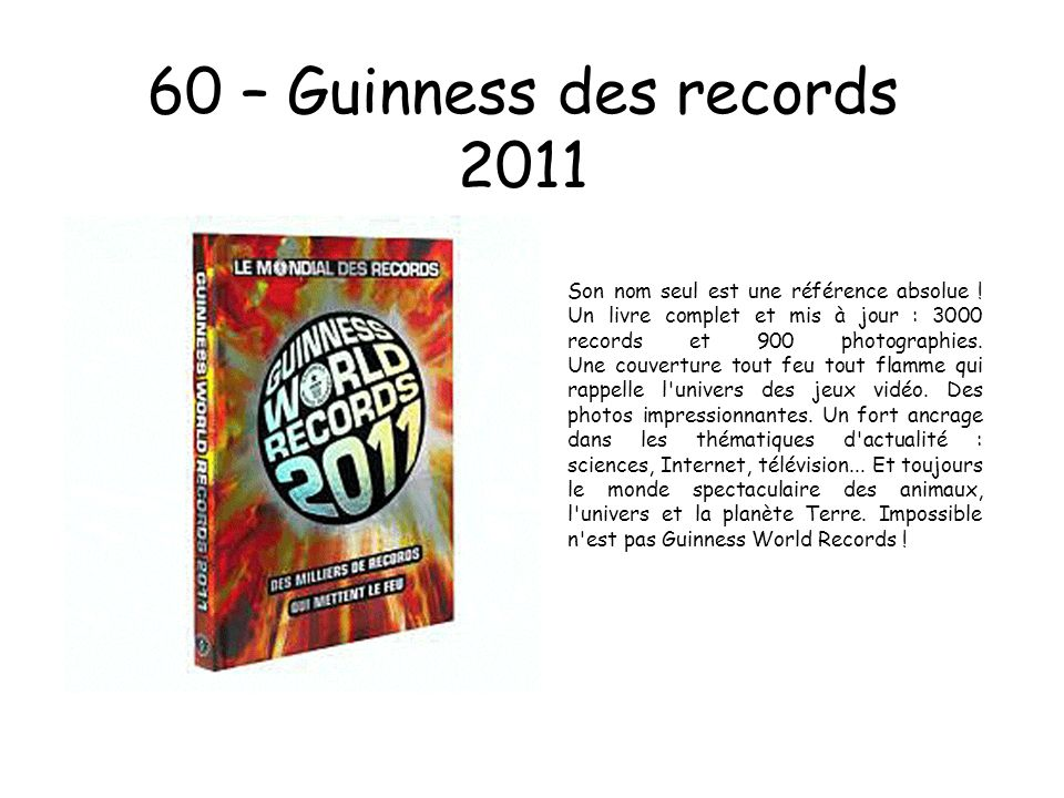 60 – Guinness des records 2011