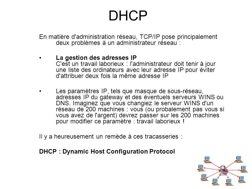 DHCP En matière d administration réseau, TCP/IP pose principalement deux problèmes à un administrateur réseau :