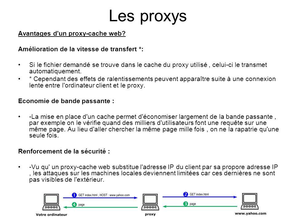 Les proxys Avantages d un proxy-cache web