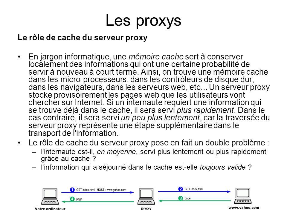 Les proxys Le rôle de cache du serveur proxy