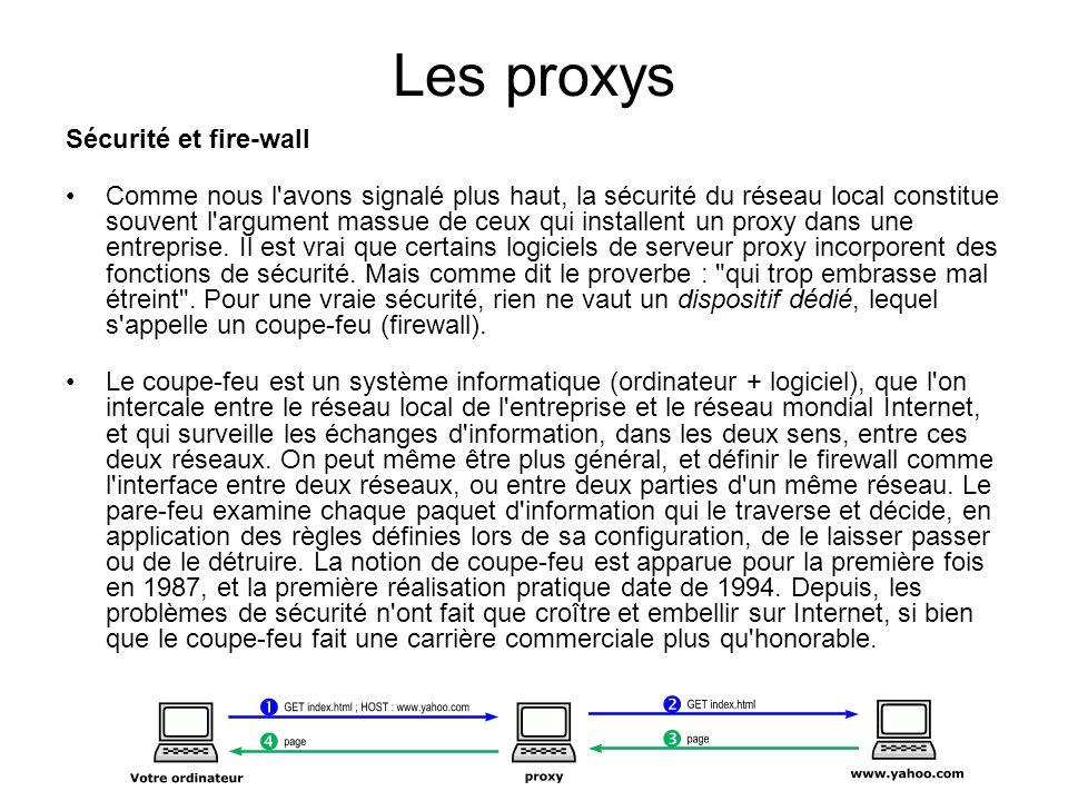 Les proxys Sécurité et fire-wall