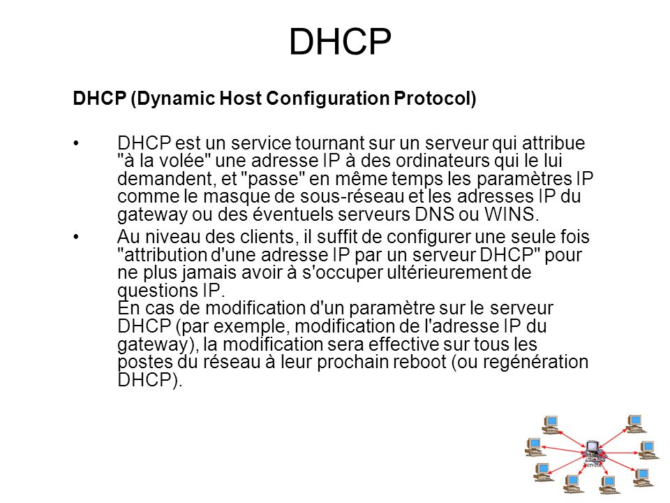 DHCP DHCP (Dynamic Host Configuration Protocol)